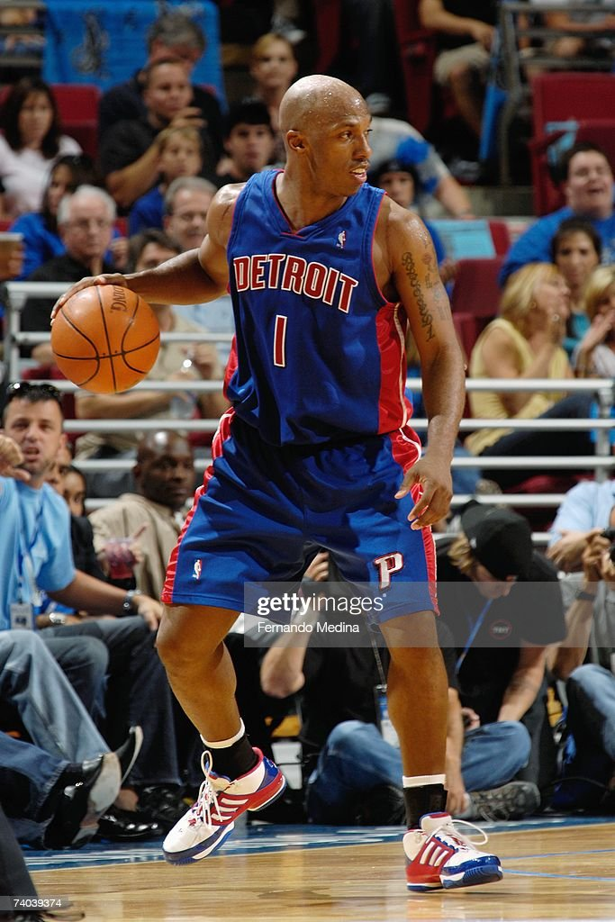 Chauncey Billups #1 of the Detroit Pistons dribbles against the Orlando Magic in Game Four of the Eastern Conference Quarterfinals during the 2007 NBA Playoffs at Amway Arena on April 28, 2007 in Orlando, Florida. The Pistons won 97-93 to sweep the series 4-0.