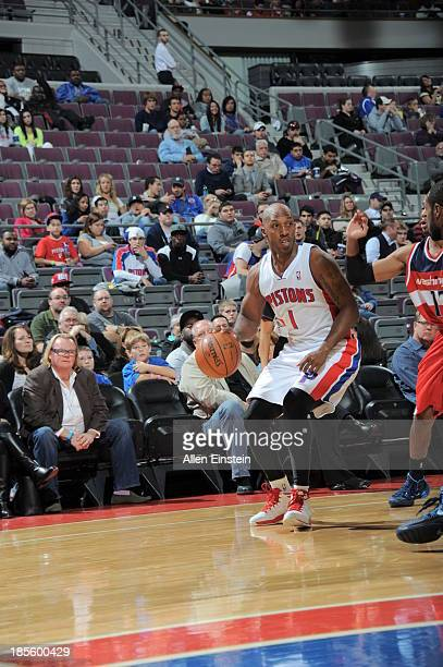 Chauncey Billups of the Detroit Pistons dribbles the ball against the Washington Wizards during the game on October 22 2013 at The Palace of Auburn...