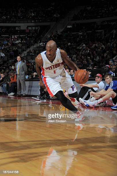 Chauncey Billups of the Detroit Pistons drives against the Indiana Pacers on November 5 2013 at The Palace of Auburn Hills in Auburn Hills Michigan...