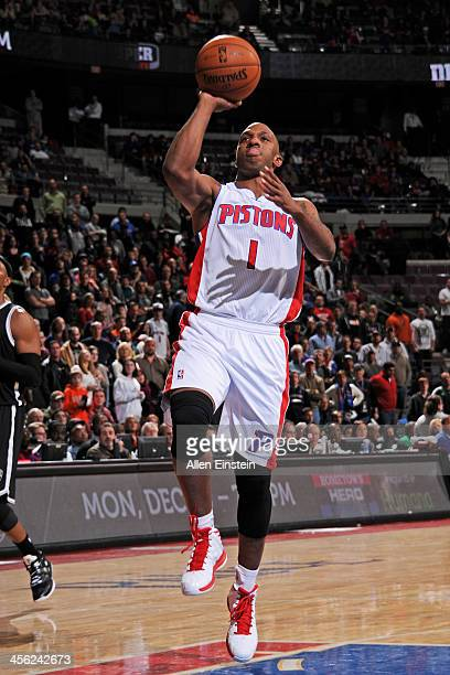 Chauncey Billups of the Detroit Pistons drives to the basket against the Brooklyn Nets on December 13 2013 at The Palace of Auburn Hills in Auburn...