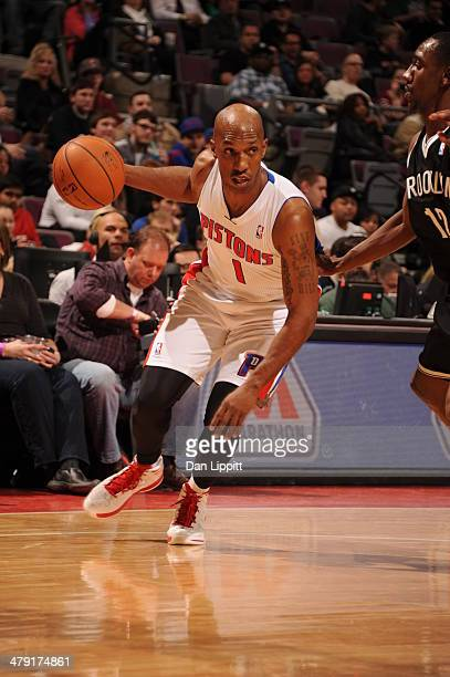 Chauncey Billups of the Detroit Pistons drives to the basket during the game against the Brooklyn Nets on February 7 2014 at The Palace of Auburn...