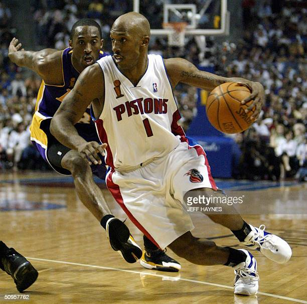 Chauncey Billups of the Detroit Pistons gets around Kobe Bryant of the Los Angeles Lakers during the second half of game four of the NBA Finals...