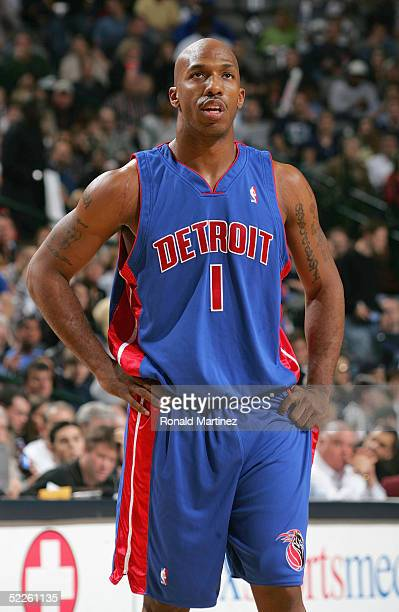 Chauncey Billups of the Detroit Pistons is on the court during the game against the Dallas Mavericks on December 6 2004 at the American Airlines...