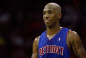 Chauncey Billups of the Detroit Pistons looks on against the Cleveland Cavaliers in Game Six of the Eastern Conference Finals during the 2007 NBA...