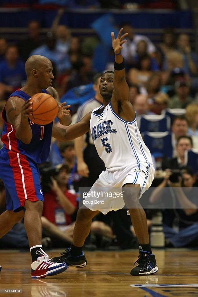 Chauncey Billups #1 of the Detroit Pistons moves the ball against Keyon Dooling #5 of the Orlando Magic in Game Four of the Eastern Conference Quarterfinals during the 2007 NBA Playoffs at Amway Arena on April 28, 2007 in Orlando, Florida. The Pistons won 97-93 and won the series 4-0.