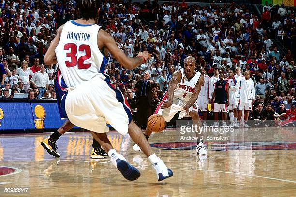 Chauncey Billups of the Detroit Pistons passes the ball against the Los Angeles Lakers during Game four of the 2004 NBA Finals at the Palace of...