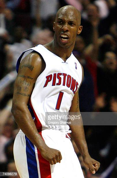 Chauncey Billups of the Detroit Pistons reacts after hitting a fourth quarter three point basket against the Chicago Bulls in Game Two of the Eastern...