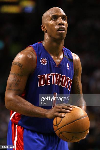 Chauncey Billups of the Detroit Pistons shoots a free throw during the game against the Boston Celtics in Game Two of the Eastern Conference Finals...