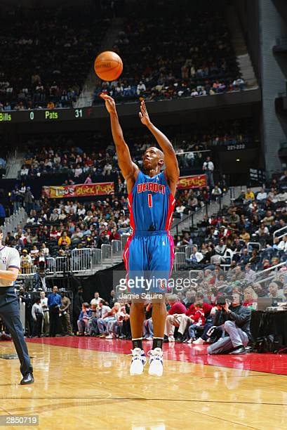 Chauncey Billups of the Detroit Pistons shoots a jumper during the game against the Atlanta Hawks on December 27 2003 at Philips Arena in Atlanta...