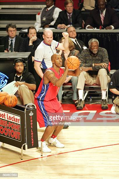 Chauncey Billups of the Detroit Pistons shoots a threepointer during the 2006 Footlocker ThreePoint Shootout on February 18 2006 at the Toyota Center...
