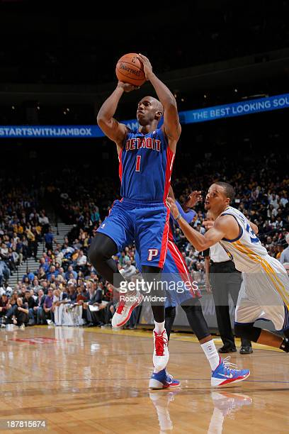 Chauncey Billups of the Detroit Pistons shoots against the Golden State Warriors on November 12 2013 at Oracle Arena in Oakland California NOTE TO...