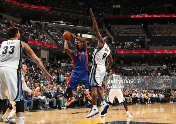 Chauncey Billups of the Detroit Pistons shoots against Tony Allen of the Memphis Grizzlies on November 1 2013 at FedExForum in Memphis Tennessee NOTE...