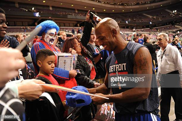 Chauncey Billups of the Detroit Pistons signs autographs prior to the game against the Boston Celtics during the game on November 3 2013 at The...
