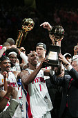 Chauncey Billups of the Detroit Pistons smiles after being award the Most Valuable Player trophy after defeating the Los Angeles Lakers in Game 5 of...