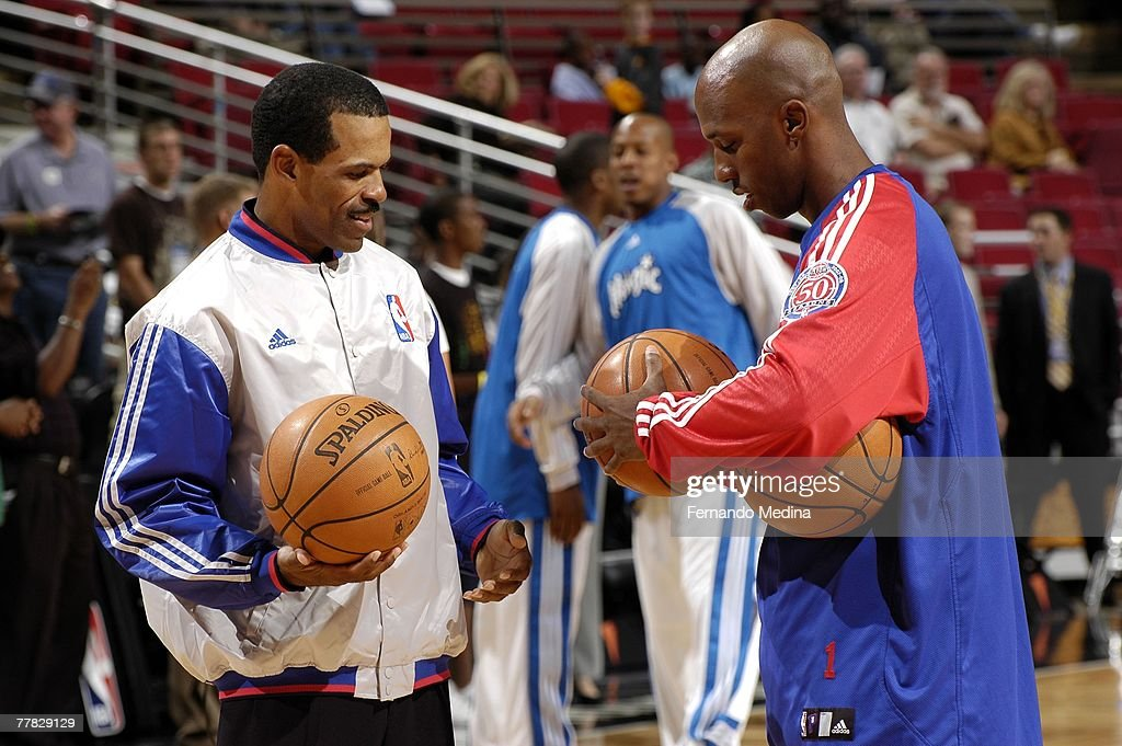 Chauncey Billups of the Detroit Pistons stands with referee Eric Lewis before the game against the Orlando Magic at Amway Arena on November 2 2007 in...