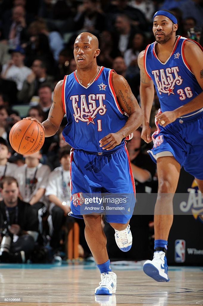 Chauncey Billups #1 of the Eastern Conference moves the ball upcourt infront of teammate Rasheed Wallace #36 during the 2008 NBA All-Star Game part of 2008 NBA All-Star Weekend at the New Orleans Arena on February 17, 2008 in New Orleans, Louisiana.