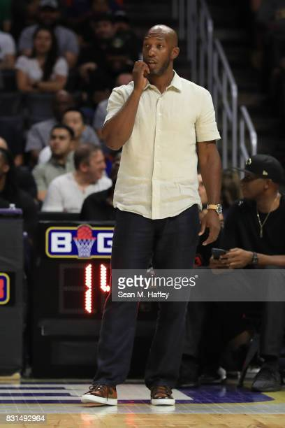 Chauncey Billups of the Killer 3s looks on against the Trilogy during week eight of the BIG3 three on three basketball league at Staples Center on...