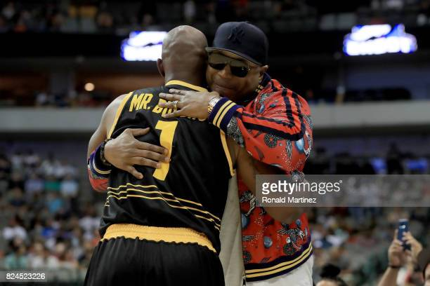 Chauncey Billups of the Killer 3s meets with LL Cool J during week six of the BIG3 three on three basketball league at American Airlines Center on...