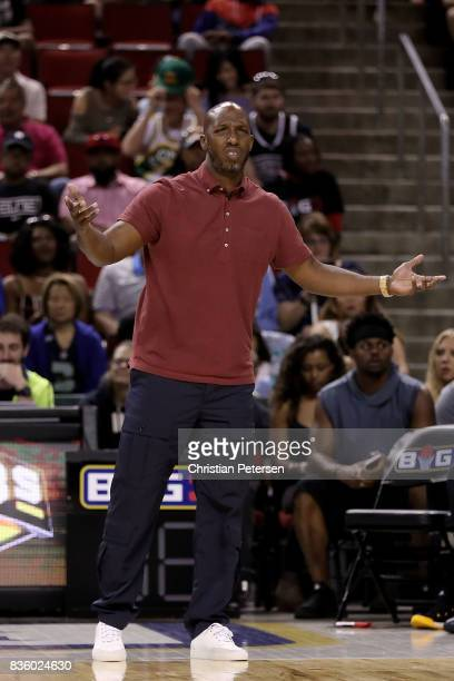 Chauncey Billups of the Killer 3s reacts from the sidelines in the game against the Ball Hogs in week nine of the BIG3 threeonthree basketball league...