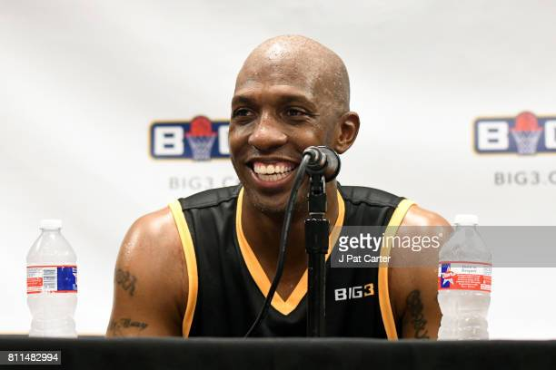 Chauncey Billups of the Killer 3s speaks to the media during week three of the BIG3 three on three basketball league at BOK Center on July 9 2017 in...
