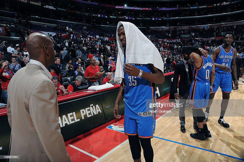 Chauncey Billups #1 of the Los Angeles Clippers greets Kevin Durant #35 of the Oklahoma City Thunder following their game at Staples Center on January 22, 2013 in Los Angeles, California.