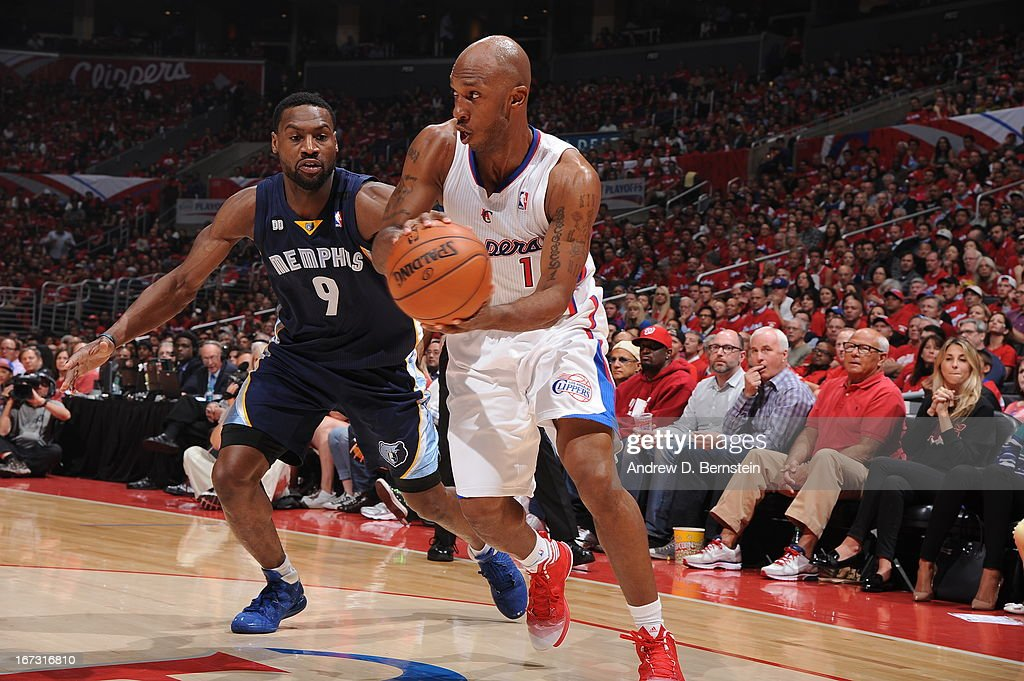 Chauncey Billups #1 of the Los Angeles Clippers handles the ball against Tony Allen #9 of the Memphis Grizzlies at Staples Center in Game Two of the Western Conference Quarterfinals during the 2013 NBA Playoffs on April 22, 2013 in Los Angeles, California.