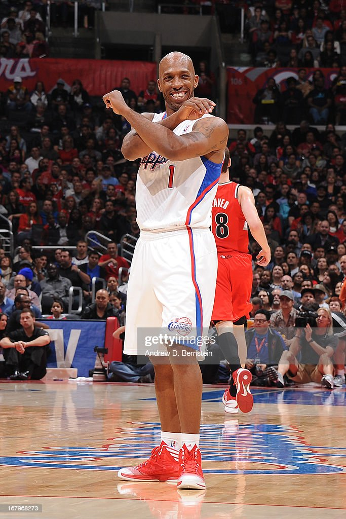 <a gi-track='captionPersonalityLinkClicked' href=/galleries/search?phrase=Chauncey+Billups&family=editorial&specificpeople=201508 ng-click='$event.stopPropagation()'>Chauncey Billups</a> #1 of the Los Angeles Clippers reacts to a play against the Portland Trail Blazers at Staples Center on April 16, 2013 in Los Angeles, California.