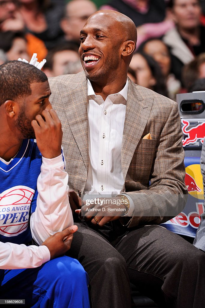 Chauncey Billups #1 of the Los Angeles Clippers smiles on the bench as his teammates play the Sacramento Kings at Staples Center on December 21, 2012 in Los Angeles, California.