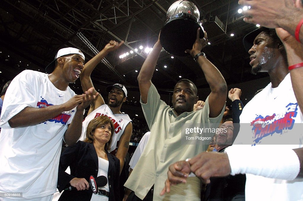 Chauncey Billups Rasheed Wallace President of Basketball Operations Joe Dumars and Ben Wallace of the Detroit Pistons celebrate their win over the...