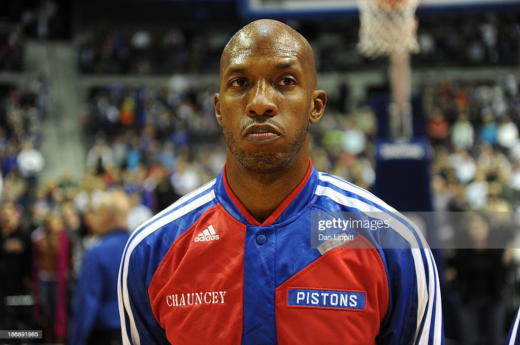 Chauncey Billuyps #1 of the Detroit Pistons stands for the National Anthem against the Boston Celtics during the game on November 3, 2013 at The Palace of Auburn Hills in Auburn Hills, Michigan.