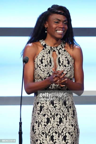 Chaunte Lowe is seen on stage at the 2017 Team USA Awards on November 29 2017 in Westwood California Chaunte Lowe tonight received her Bronze Medal...