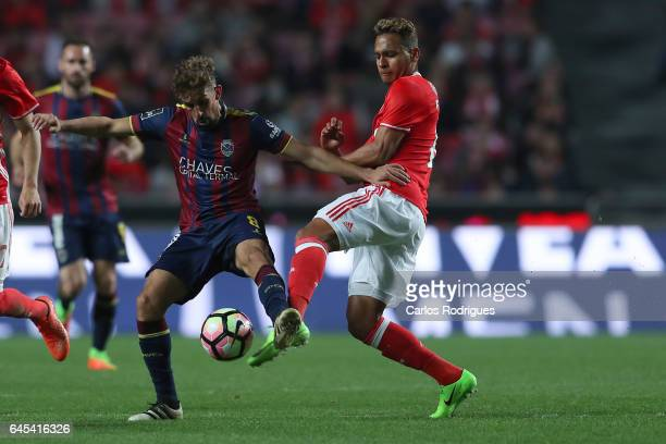 Chaves midfielder Joao Patrao from Portugal vies with Benfica midfielder Filipe Augusto from Brasil during the match between SL Benfica and GD Chaves...
