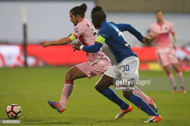 Chaves's defender Nelson Lenho from Portugal with Belenenses's forward Abel Camara from Portugal in action during the Primeira Liga match between CF...