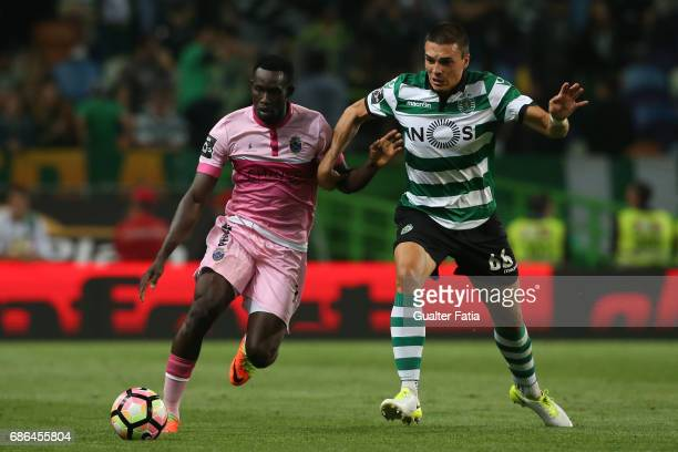 Chaves's forward Joao Mario from Guine Bissau with Sporting CP's midfielder Joao Palhinha from Portugal in action during the Primeira Liga match...