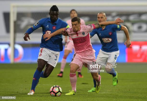 Chaves's forward Pedro Tiba from Portugal with Belenenses's forward Abel Camara from Portugal in action during the Primeira Liga match between CF Os...