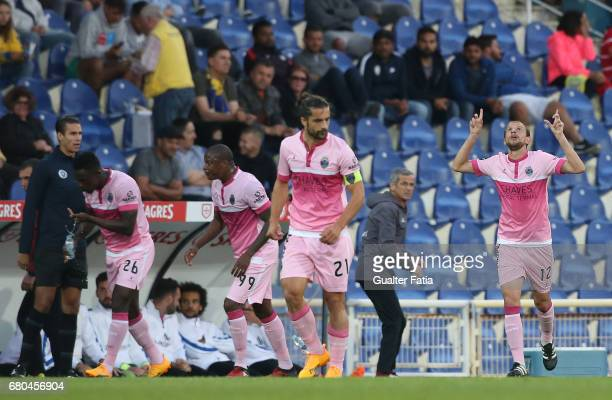Chaves's midfielder Renan Bressan of Belarus celebrates after scoring a goal during the Primeira Liga match between GD Estoril Praia and GD Chaves at...