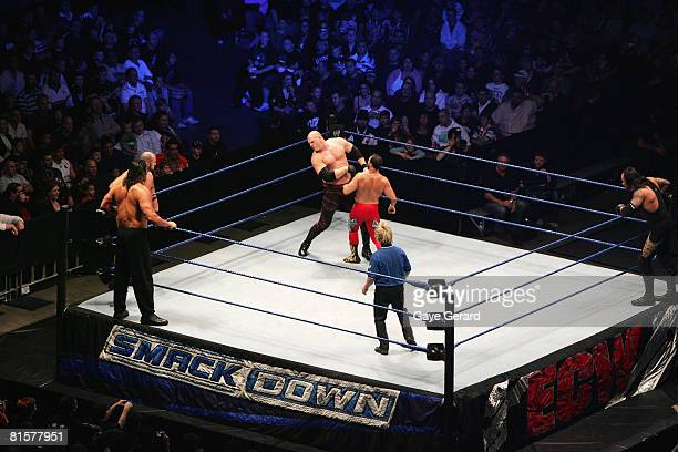Chavo Guerrero fights ECW Champion Kane during WWE Smackdown at Acer Arena on June 15 2008 in Sydney Australia
