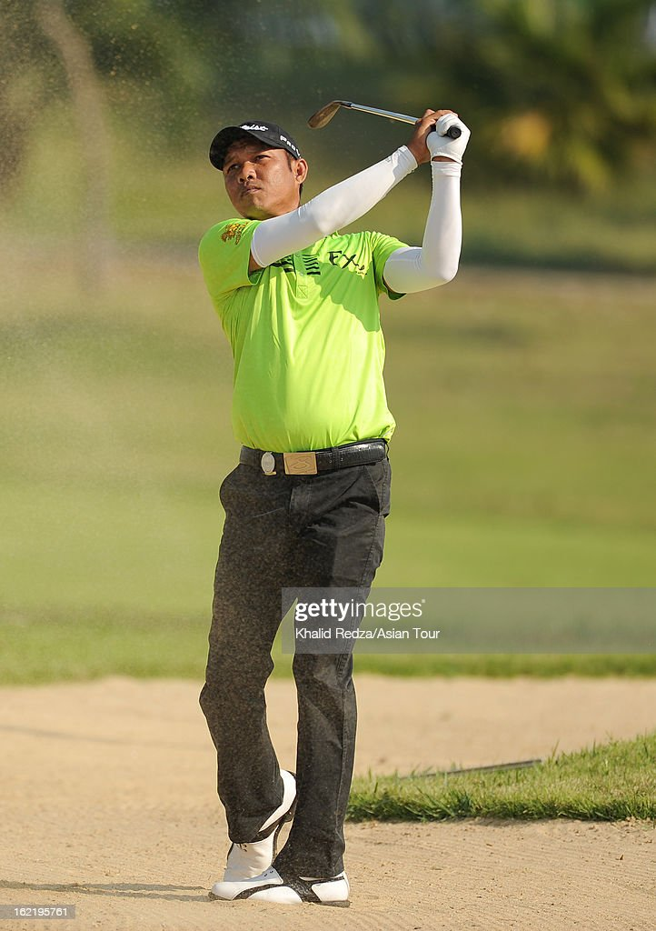 Chawalit Plaphol of Thailand in action during previews ahead of the Zaykabar Myanmar Open at the Royal Mingalardon Golf and Country Club on February 20, 2013 in Yangon, Burma.