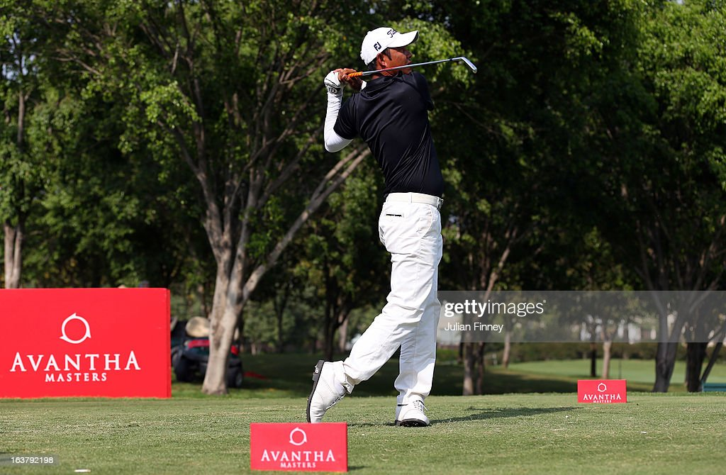 Chawalit Plaphol of Thailand tees off during day three of the Avantha Masters at Jaypee Greens Golf Club on March 16, 2013 in Delhi, India.