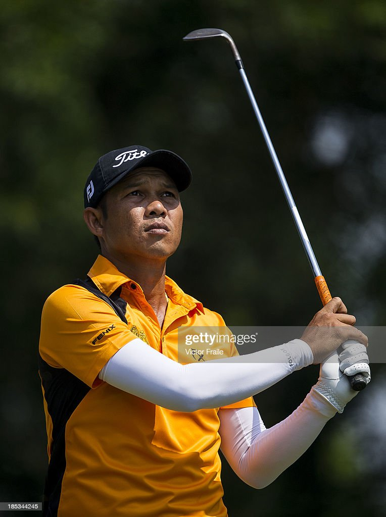 Chawalit Plaphol of Thailand tees off on the 6th hole during day three of the Venetian Macau Open at Macau Golf and Country Club on October 19, 2013 in Macau, Macau.