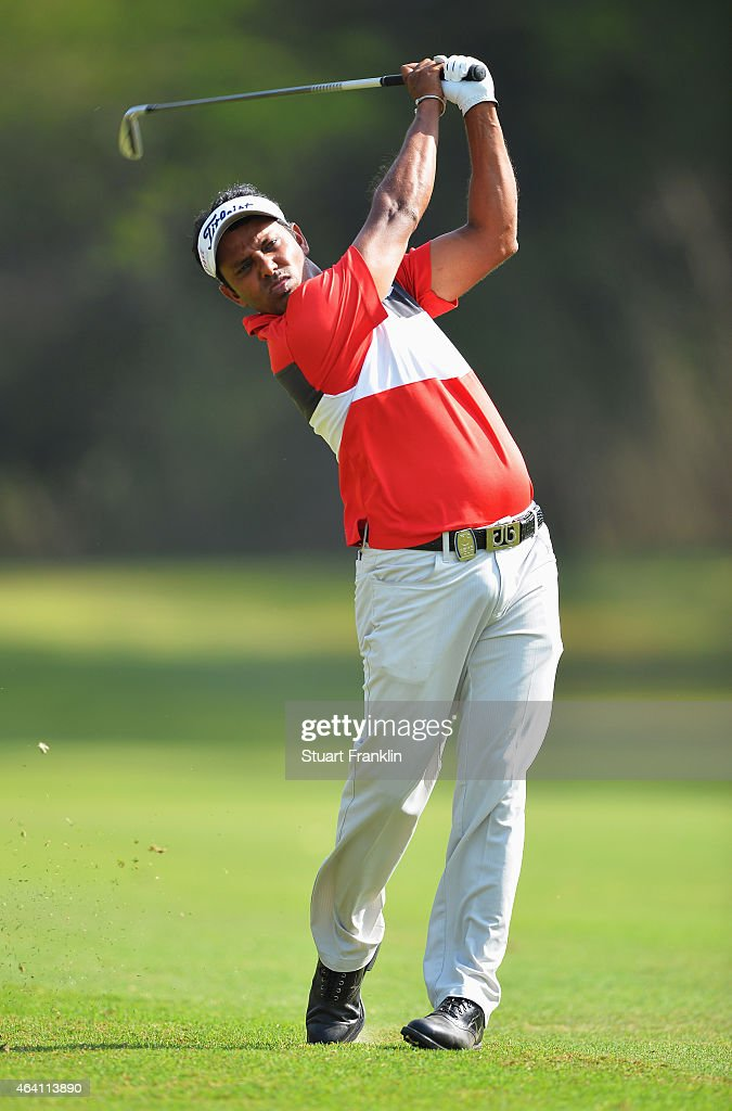 Chawrasia of India plays a shot during the final round of the Hero India Open Golf at Delhi Golf Club on February 22, 2015 in New Delhi, India.
