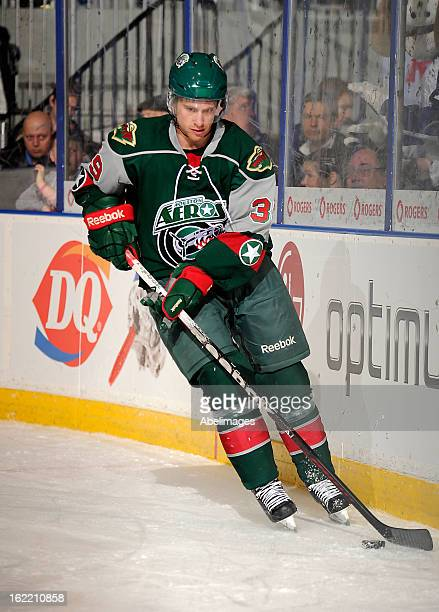 Chay Genoway of the Houston Aeros skates up ice against the Toronto Marlies during AHL game action February 18 2013 at Ricoh Coliseum in Toronto...