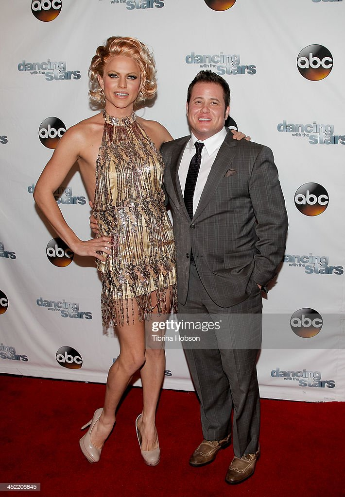 <a gi-track='captionPersonalityLinkClicked' href=/galleries/search?phrase=Chaz+Bono&family=editorial&specificpeople=1364433 ng-click='$event.stopPropagation()'>Chaz Bono</a> (R) attends the 'Dancing With The Stars' wrap party at Sofitel Hotel on November 26, 2013 in Los Angeles, California.