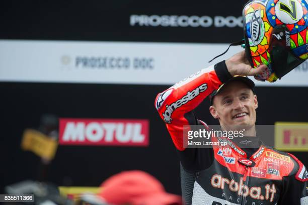 Chaz Davies of Great Britain and ARUBAIT RACINGDUCATI celebrates the victory on the podium at the end of the Superbike race 1 during the FIM...