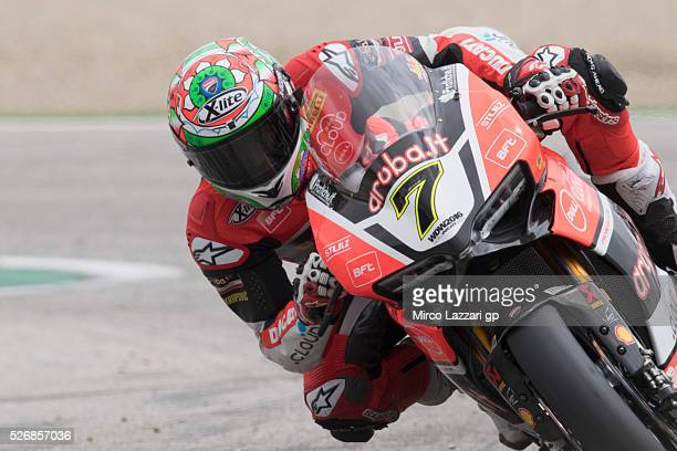 Chaz Davies of Great Britain and ARUBAIT RACINGDUCATI leads the field during the Superbike race 2 during the World Superbikes Race at Enzo Dino...