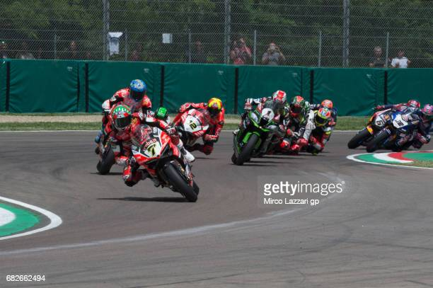 Chaz Davies of Great Britain and ARUBAIT RACINGDUCATI leads the field during the Race 1 during the FIM Superbike World Championship Race 1 at Enzo...