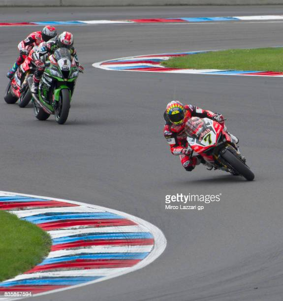 Chaz Davies of Great Britain and ARUBAIT RACINGDUCATI leads the field during the Superbike race 2 during the FIM Superbike World Championship Race 2...