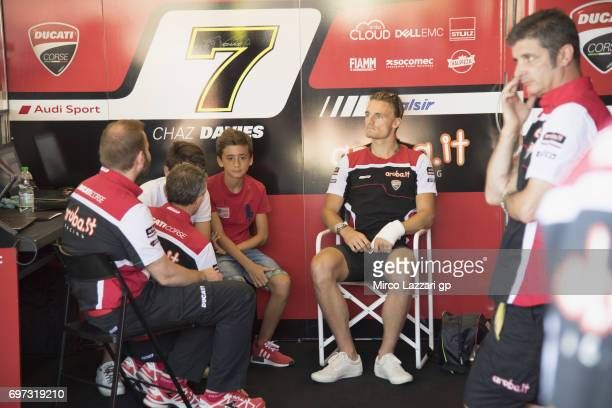 Chaz Davies of Great Britain and ARUBAIT RACINGDUCATI looks on in box before the Superbike Race 2 during the FIM Superbike World Championship Race 2...