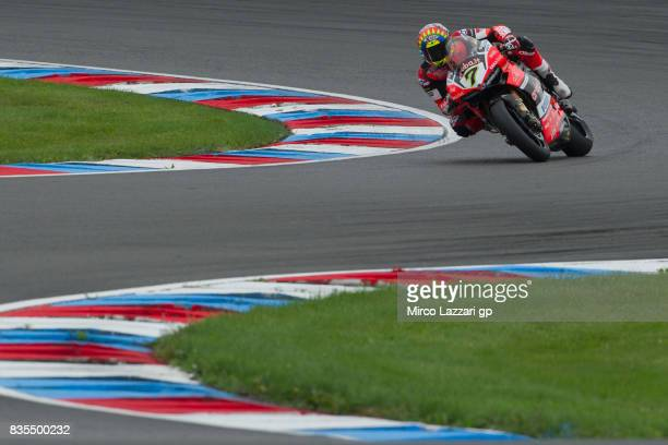 Chaz Davies of Great Britain and ARUBAIT RACINGDUCATI rounds the bend before the FIM Superbike World Championship Race 1 at Lausitzring on August 19...