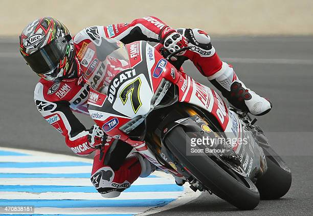 Chaz Davies of Great Britain and Ducati Superbike Team during practice ahead of round one of the 2014 World Superbike Championship at Phillip Island...